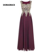 Elegant Applique Beaded Chiffon Floor-Length Long Prom Gowns Designer Evening Dresses DGE054