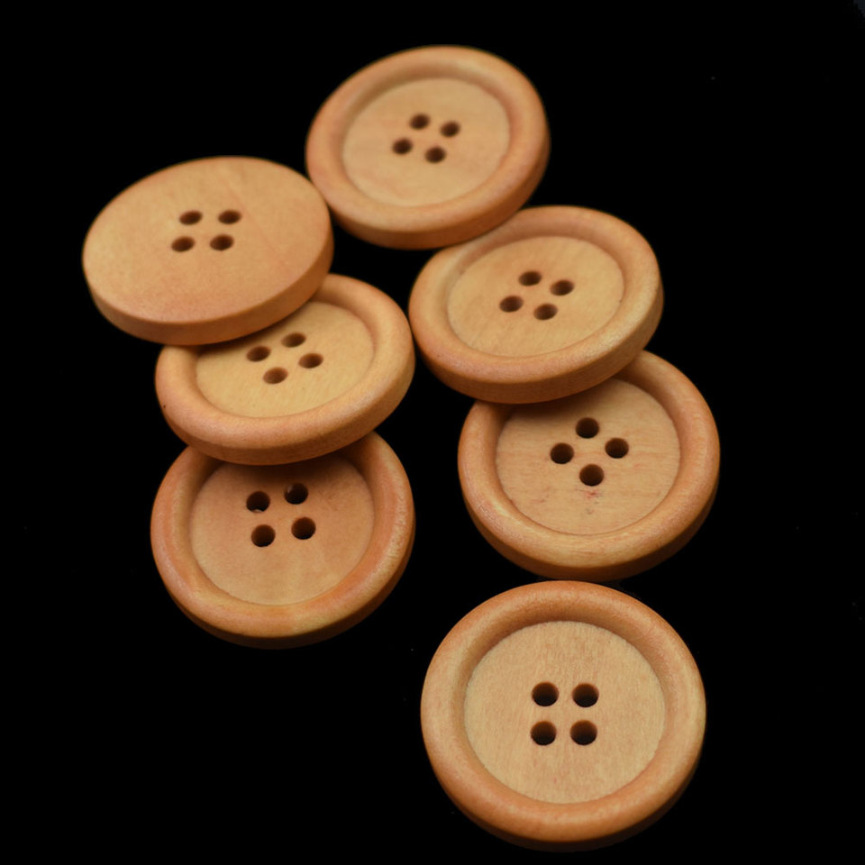 follwer0 30pcs Botones de Madera Ronda 4 Agujeros Costura Scrapbooking DIY Accesorios para Ropa