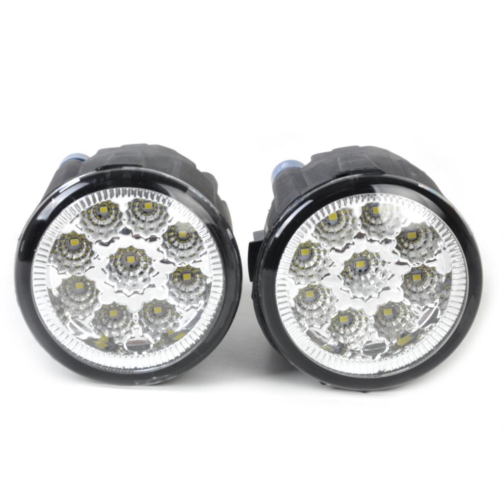 DWCX Black 2pcs Right + Left Fog Lamp Light 9-LED Daytime Running Light DRL for Nissan EX35 FX35 G25 Infiniti Cube Juke Versa