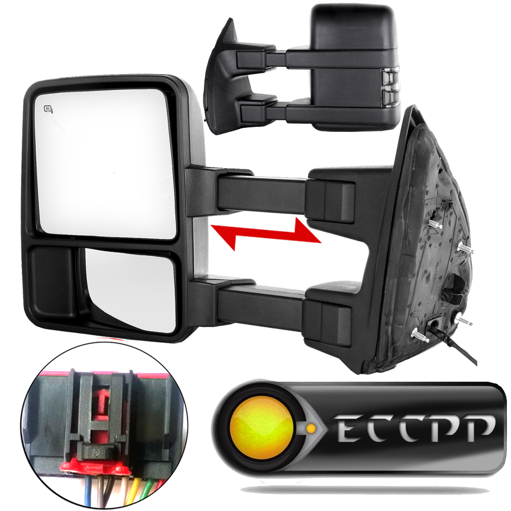 Power heated turn smoke signal towing mirrors for 2008 2016 ford f250 f350 f450 f550