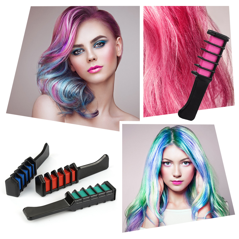 2019 Hot 6 Colors Mini Disposable Hair Color  Dye Comb Personal Salon Use Temporary Crayons Hair Dyeing Tool Color Chalk TSLM2