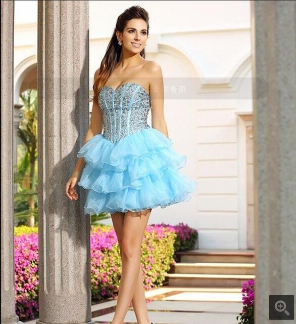 2017 vestidos de novia sky blue layered perlen kristalle prom dress ...