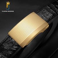 FAJARINA Top Quality Crocodile Skin Belts Paid Stainless Steel Automatic Buckle Fashion Belt Men 33mm Wide Luxury Packing EYFJ14