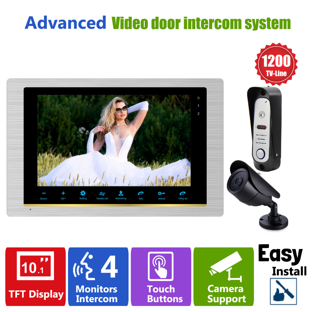 Homefong HD Home 1200TVL 10 Inch Video Door Phone System Door Intercom Doorbell Camera 10 Indoor