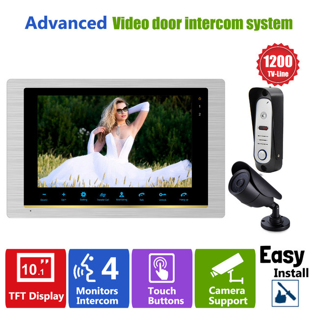 "Homefong HD Home 1200TVL 10 Inch Video Door Phone System Door Intercom Doorbell Camera 10"" Indoor Phone and Video Doorbell Unit"