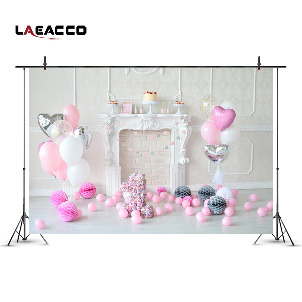 Laeacco Fireplace Pink Balloons 1st Birthday Baby Photography Backdrops Vinyl Seamless Camera Backgrounds For Photo Studio