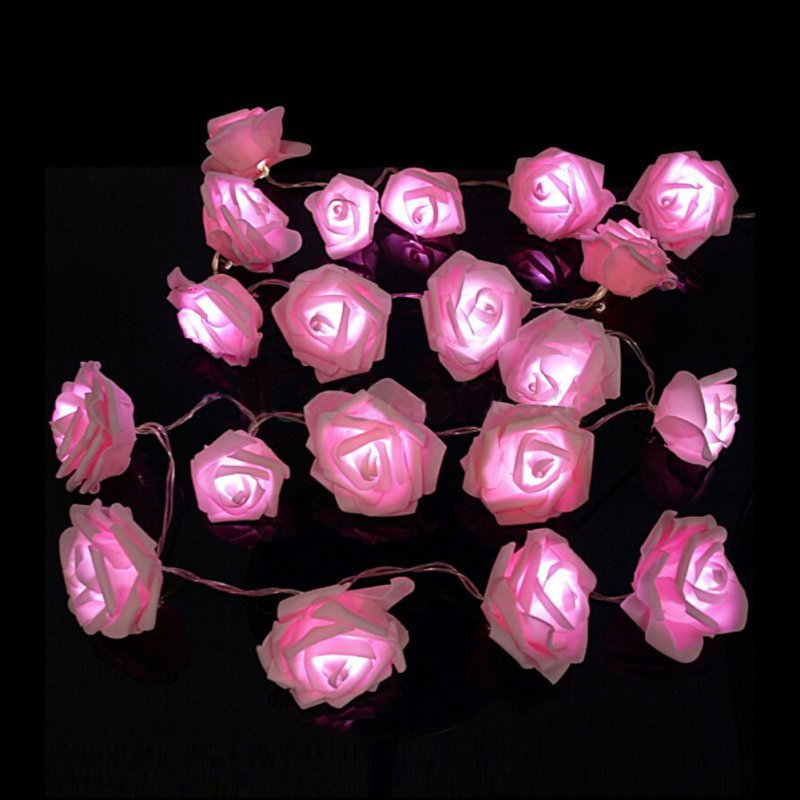 Original 20 Led Novelty Rose Flower Fairy String Lights Wedding Garden Party Valentines Day Decoration With Battery Box Easy To Lubricate Led Lighting