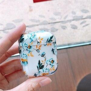 Image 3 - Dla przypadku AirPods kwiat przezroczysty przezroczysty twardy plastik bezprzewodowe etui na słuchawki Bluetooth dla Apple Airpods 2 okładka moda Funda