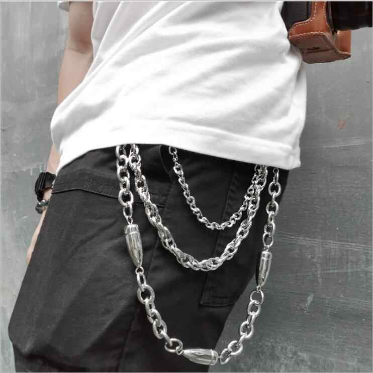 Suitable for Hip Hop Pants Trousers Wallet Key Chain Womens Mens Kiwochy Jeans Chain 3 Layer Metal Pants Chain Punk Rock Style Key Chain with lobster Claw Clasp and Key Ring