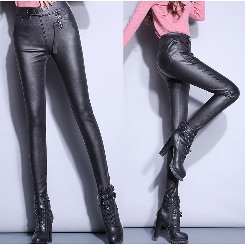 328445e05bcbd Elastic High Waist Extra Long PU Leather Pants 107Cm For Tall Girl ...