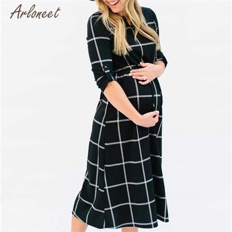 Fashion Black Color Women Pregnant Photography Props Casual Loose Plaid Long Dress 2018 Hot drop shipped OB19