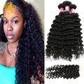 Peruano virgem cabelo onda profunda pacotes com fecho de 3 feixes queen hair produtos onda profunda peruano pacotes com fecho
