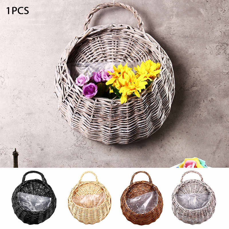 23*18cm Vase Container Balcony Living Room Planter Eco-Frendly Nest Flower Pot Wall Decor Handmade Wicker Hanging Basket