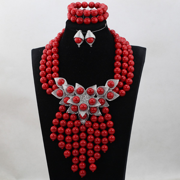 Latest Fashion 2017 Bride Gift Splendid Red African Beaded Jewelry Set Wedding Bib Statement Necklace Set Free Shipping ABH290 цена и фото