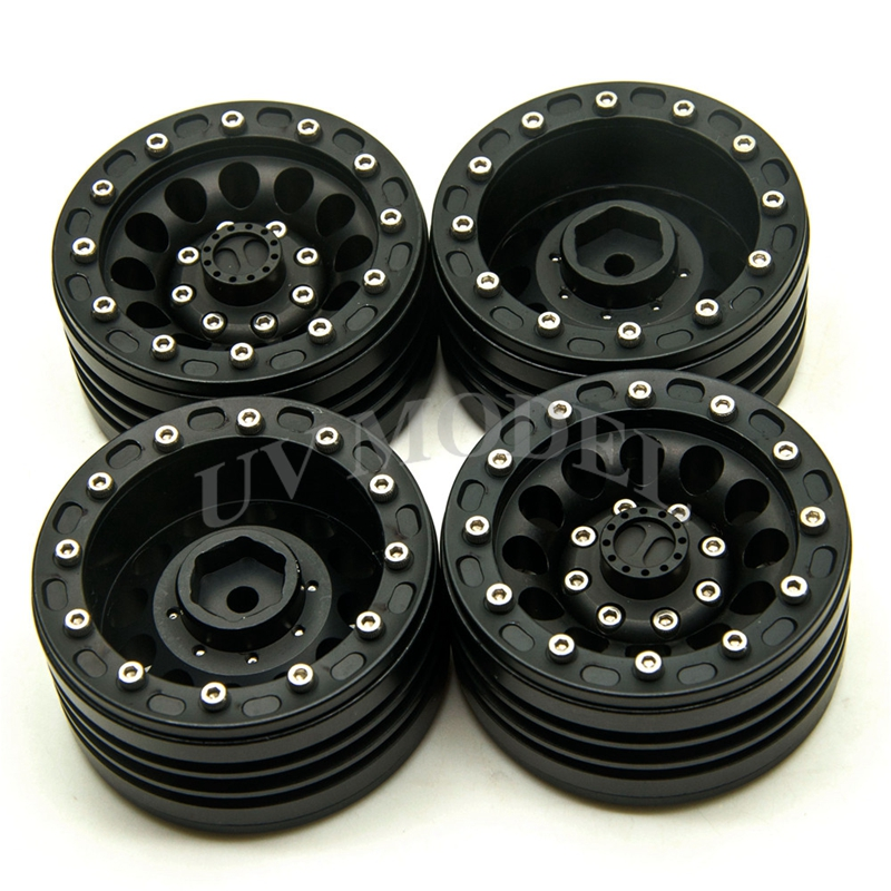 4PCS Scale 1:10 RC Crawler Alloy Upgrade Wheel Rim 1.9 Inch Beadlock Wheels for 1/10 Axial SCX10 Tamiy CC01 RC4WD D90 RC Car free shipping 2pcs 1 9 nv version 1 10 scale rc crawler wheels metal beadlock wheel hubs diameter 62mm