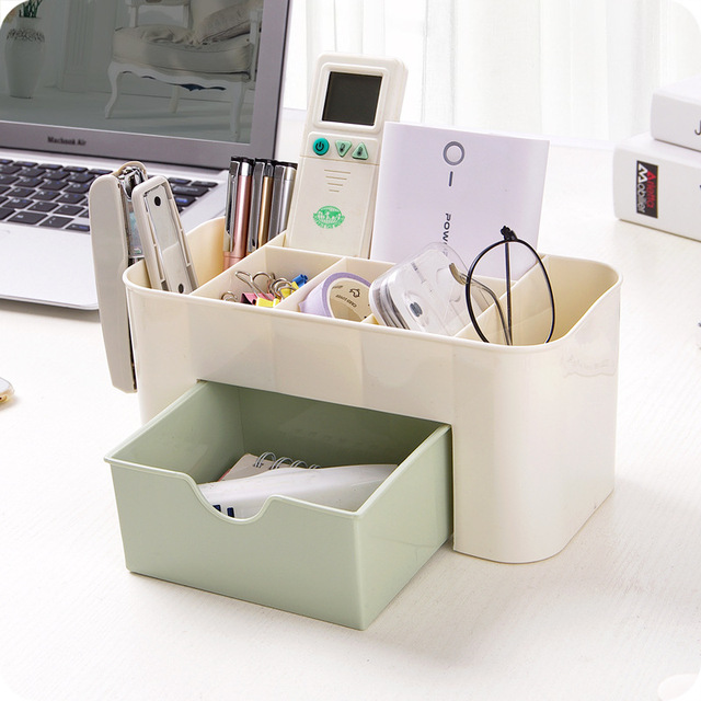 Multi Functional Jewelry Box Plastic Cosmetic Storage Box Desk Sundries Storage  Container Makeup Organizer With