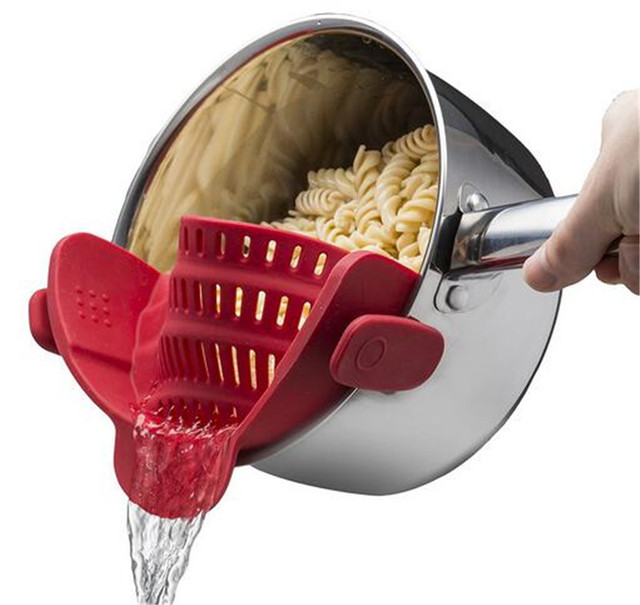 Colander Kitchen Rice Washing  Kitchen Accessories Women Hand Silicone Pot Pan Bowl Funnel Strainer