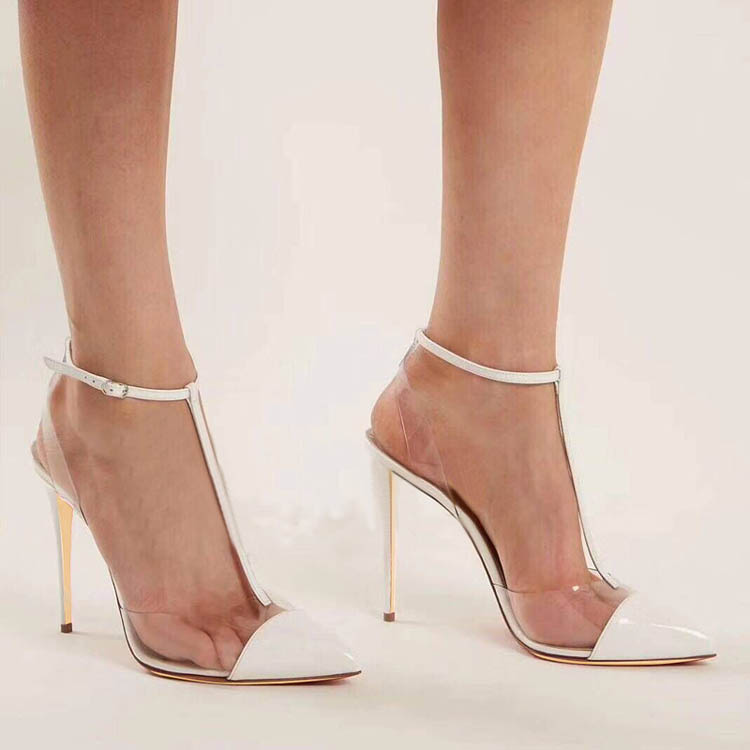 2019 Popular PVC See Thru Mary Janes Sexy Studed High Heels Formal Ladies Dress Shoes Pointed Toe Pumps