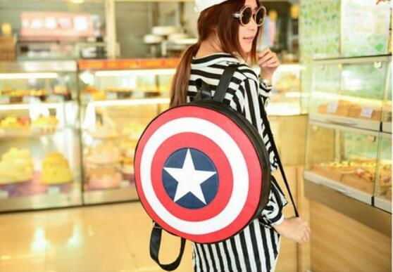 1 piece diameter 44 cm Women Men <font><b>Backpack</b></font> Captain America Shield <font><b>Backpack</b></font> <font><b>Unisex</b></font> School Bags <font><b>Backpacks</b></font> for Teenage Girls Boys image