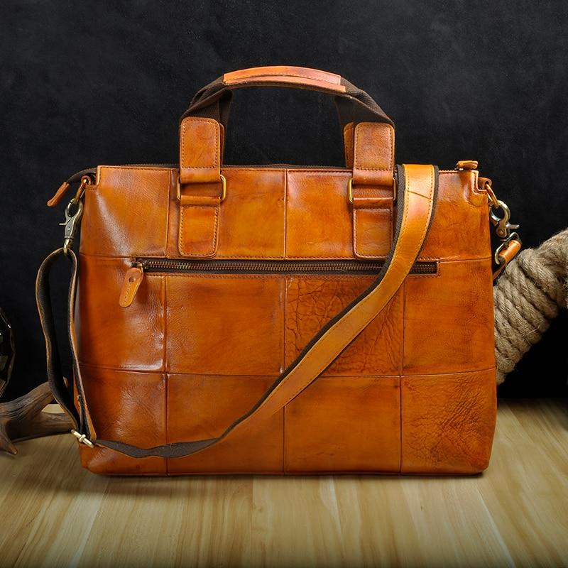 "Men Genuine Leather Office Maletas Business Briefcase 15.6"" Laptop Case Attache Portfolio Bag Maletin Messenger Bag B260"