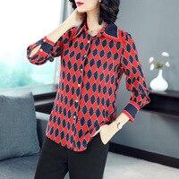 2018 neue Frühling Herbst frauen reale silk blusen langarm gedruckt rot umlegekragen hochwertigen formalen shirt 18010