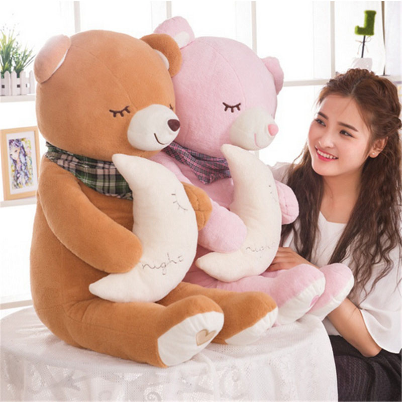 Fancytrader Big Soft Teddy Bear New Pop Plush Stuffed Sleeping Bear Holding Moon Pink Brown Nice  Birthday Valentines Gifts 1 piece light brown high quality low price stuffed plush toys large size100cm teddy bear 1m big bear doll lovers birthday gift