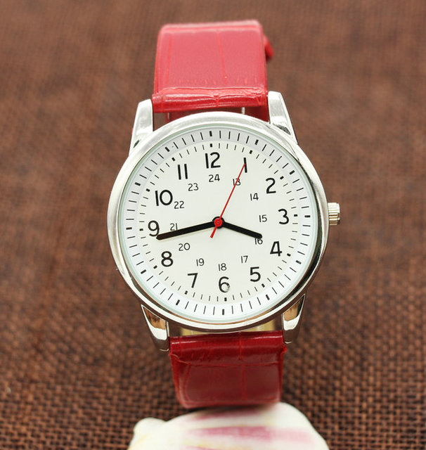 Classic red and brown leather Quartz Watch Brand Women Watches Lovers Jelly Casu