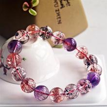 Top Quality Natural Super Seven 7 Lepidocrocite Quartz Rutilated Crystal Bracelet 12mm Women Men Round Bead AAAAAA Certificate