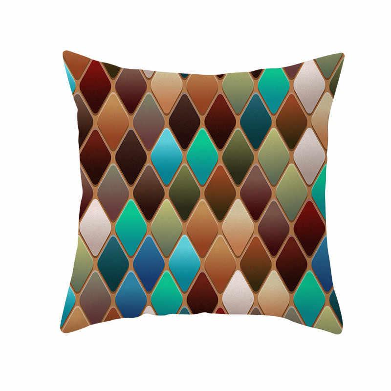 Funda de almohada geométrica moderna, colorido cojín de espejo, funda de cojín decorativo 45x45CM para sofá, decoración del hogar, funda de almohada 403