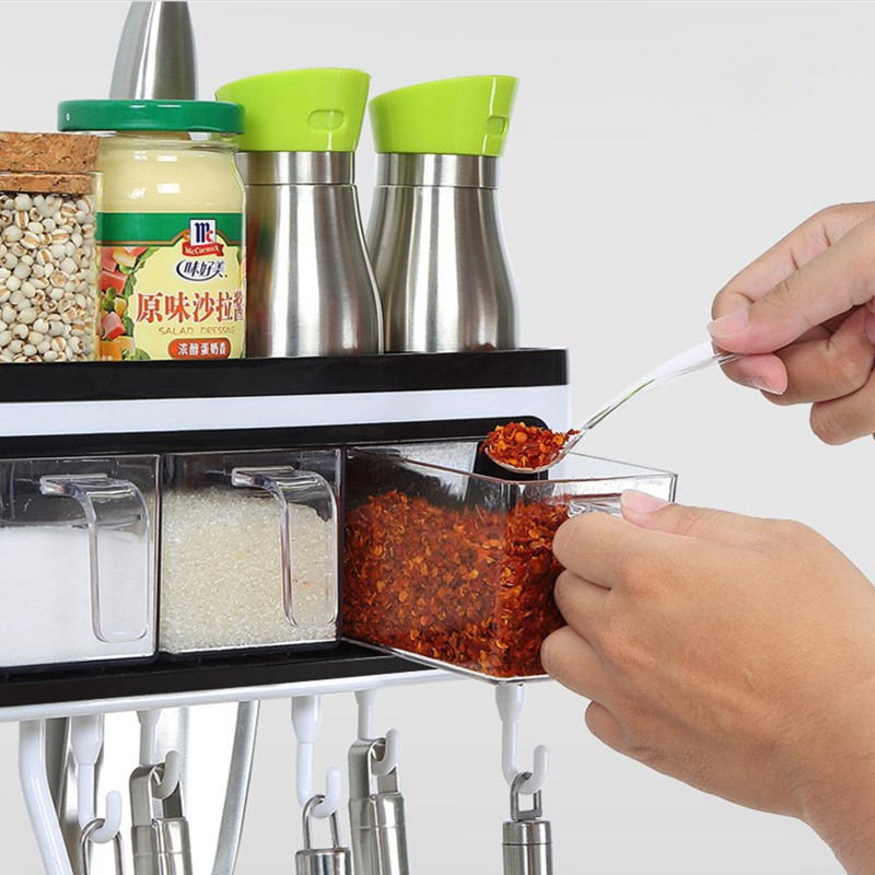 Настенные кухонные столовые приборы приправа для хранения ножей с крюком ABS пластиковые полки для ванной комнаты для домашнего декора - 5