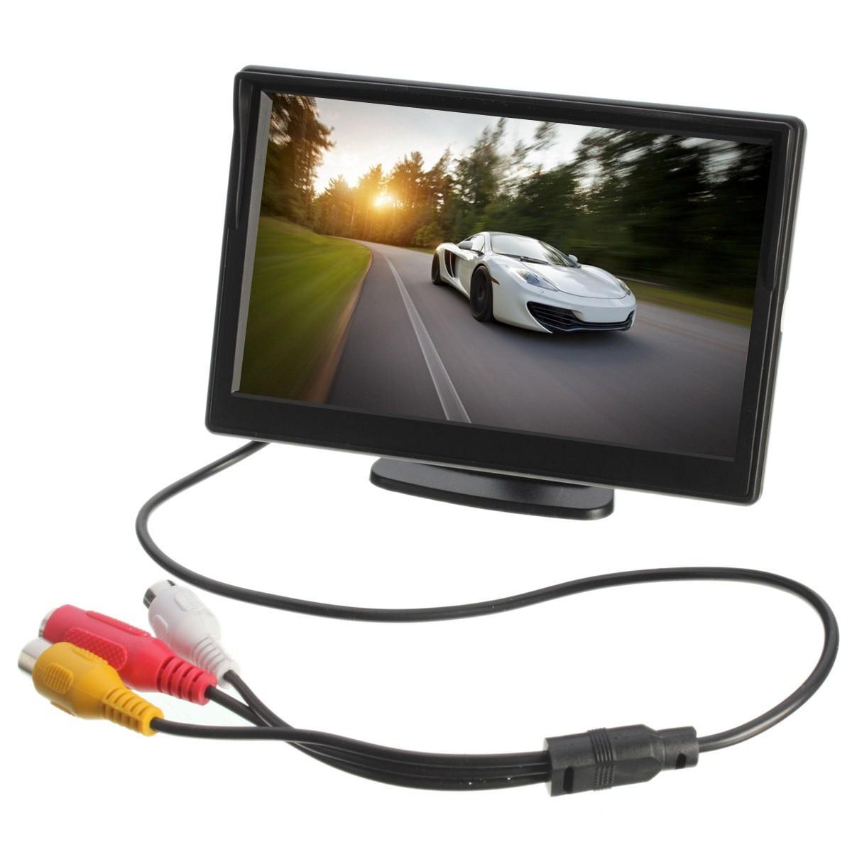 imágenes para 5 pulgadas TFT LCD de Pantalla Del Monitor Retrovisor Aparcamiento Vista Posterior Monitores Soporte de la Succión Del Coche Para VCD DVD Cámara de Marcha Atrás