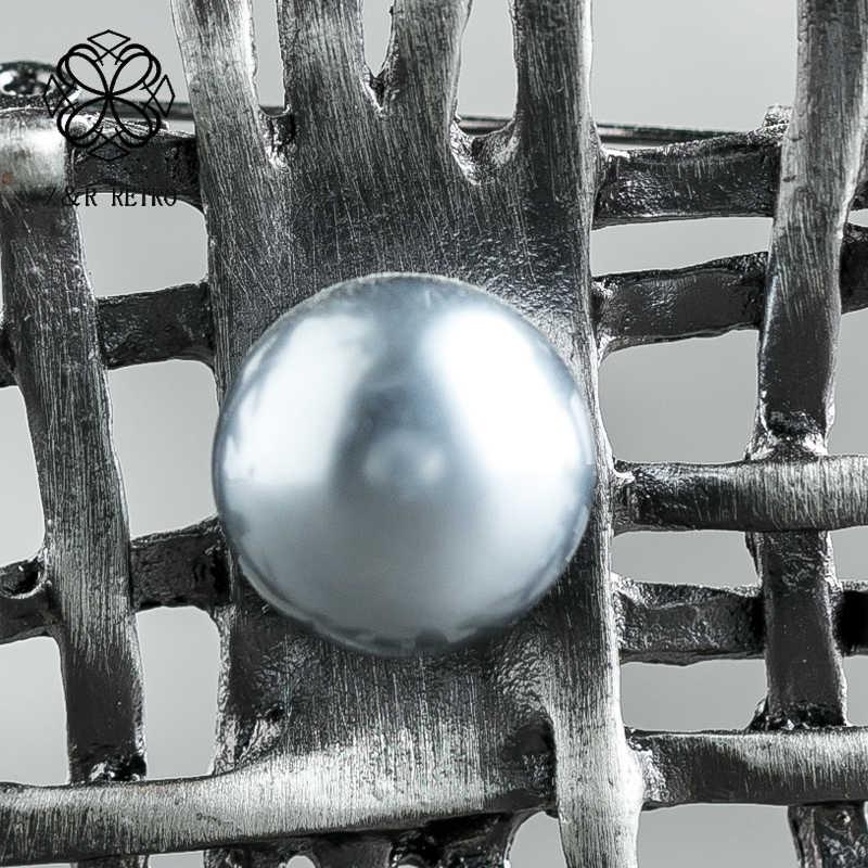 手作りヴィンテージロングチェーンネックレスグレービーズ女性のファッションアクセサリー装飾幾何ビッグサスペンションペンダント