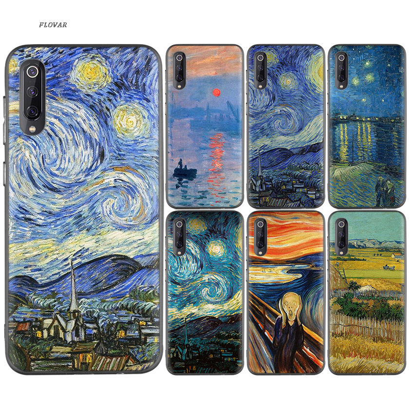 Apprehensive Vincent Van Gogh Starry Sky Oil Painting Black Tpu Printing Case For Xiaomi 9 8 A2 Lite A1 Play Xioami Redmi Note 7 6 5 Pro 4x 4 Fragrant Aroma Fitted Cases
