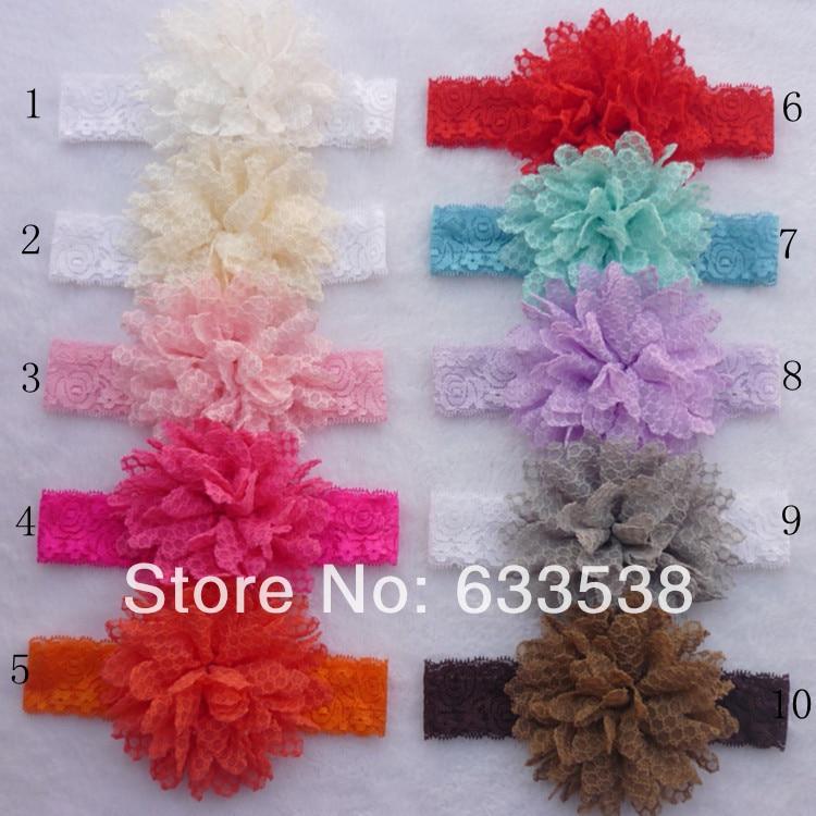 Bebé Niñas Bandas para la cabeza Nuevo 2014 niños Encaje Hairband   Big  gasa flores Bandas para la cabeza niños Accesorios 10 unids lote fd03 da15e430628e