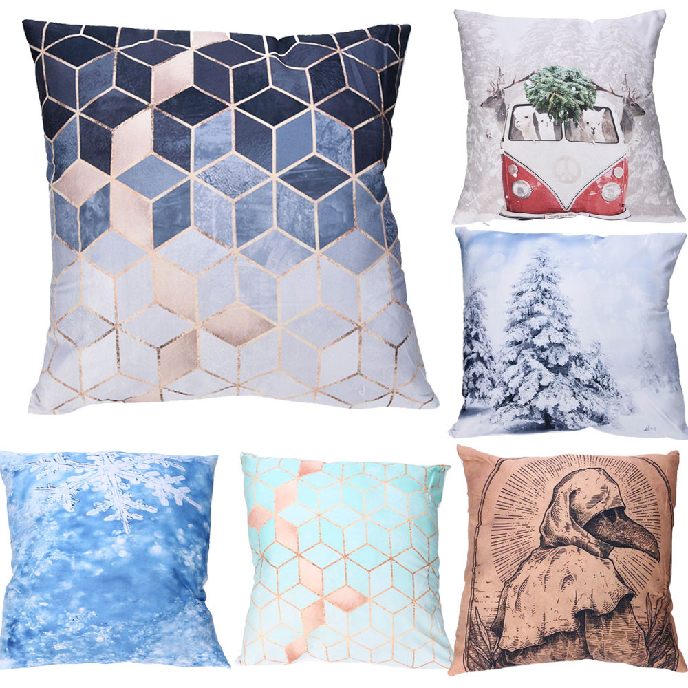 1 Pcs Pillowcase Print Pillow Cases Polyester Sofa Car Cushion Cover Home Decor 45X45cm Decorative For Sofa Seat Cushion Cover