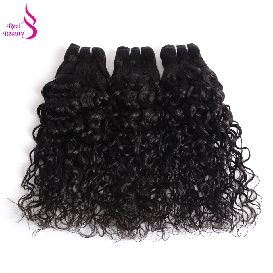 Real Beauty Brazilian Water Wave 3 Bundles Human Hair Weave Bundles 8-30 Remy Hair Extensions Natural Color