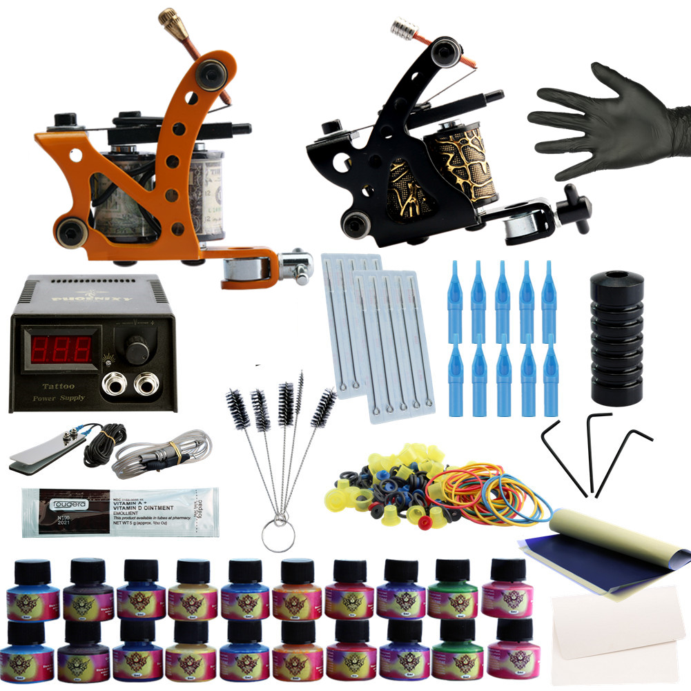 Complete Tattoo Kit 2 Tattoo Machines Set 20 Colors Tattoo Ink LCD Tattoo Power Set Needles Permanent Make Up ophir 380pcs pro complete tattoo kit 3 tattoo machines guns 40 colors ink pigment tattoo supply power needles nozzles set ta005