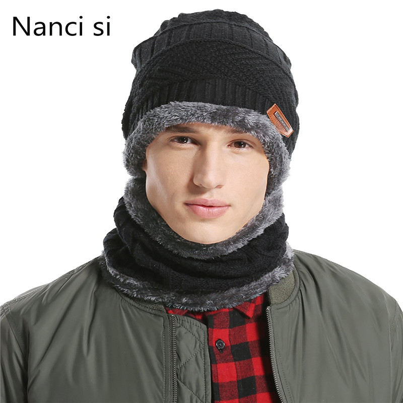 Nanci Si Winter Wool Ski Hats Neck Warmer Beanies Knit Men's  Hats Caps Skullies Bonnet For Men Women Balaclava Head Caps