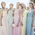 2016 New Fashion Cheap Halter Criss-Cross Sexy Chiffon Wedding Party Bridesmaid Dresses with Different Colors vestito damigella