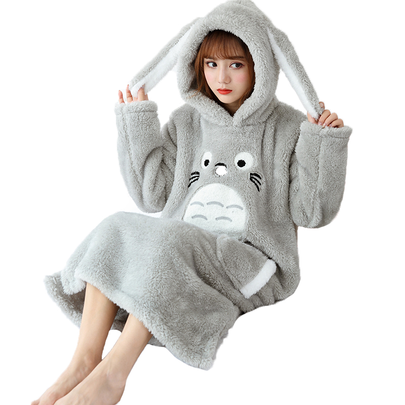 Flannel Night Dress Women Winter Thicken Plush Nightgowns Totoro Hooded Long Dressing Gown Cute Girls Sleepwear Soft Home Dress