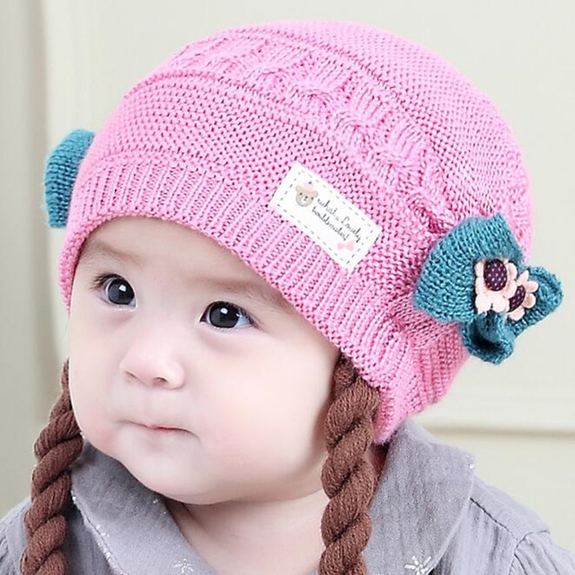 37e91af58b1a Cute Baby Wig Hats Bow knot Newborn Baby Girls Knitted Braids Hat ...