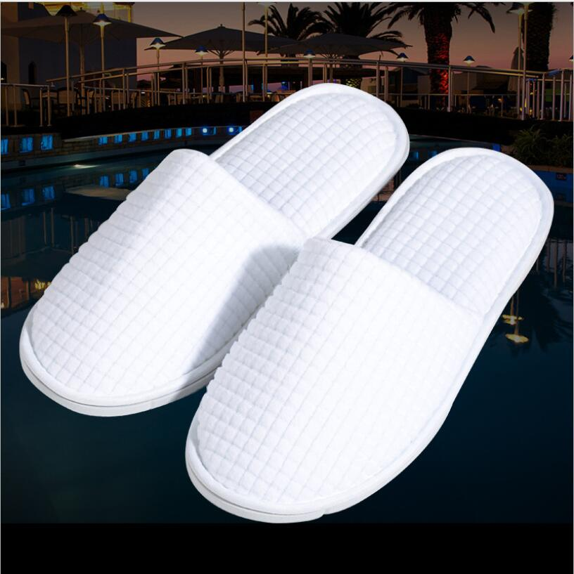 Good Quality Hotel Family Party Room White Fleece  Disposable Slippers Salon Spa Pedicure Flip Flop Tools For Men And Women