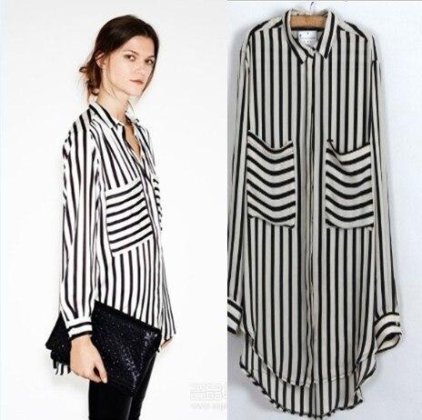 2013 New fashion womens' OL classic beige black Striped blouse elegant quality casual loose shirt big pockets tops brand blouse