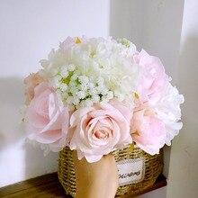 シルクウェディング花ガーデンブーケ家の装飾花花嫁介添人花束バラアジサイブライダルブーケ