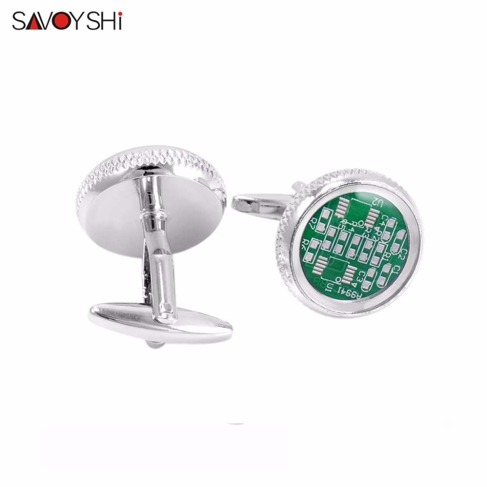 Buy Savoyshi Jewelry Circuit Board Cufflinks For Mens Brand High Quality Business Gift Cuff Buttons Cover Transparent Epoxy 2 Colors From