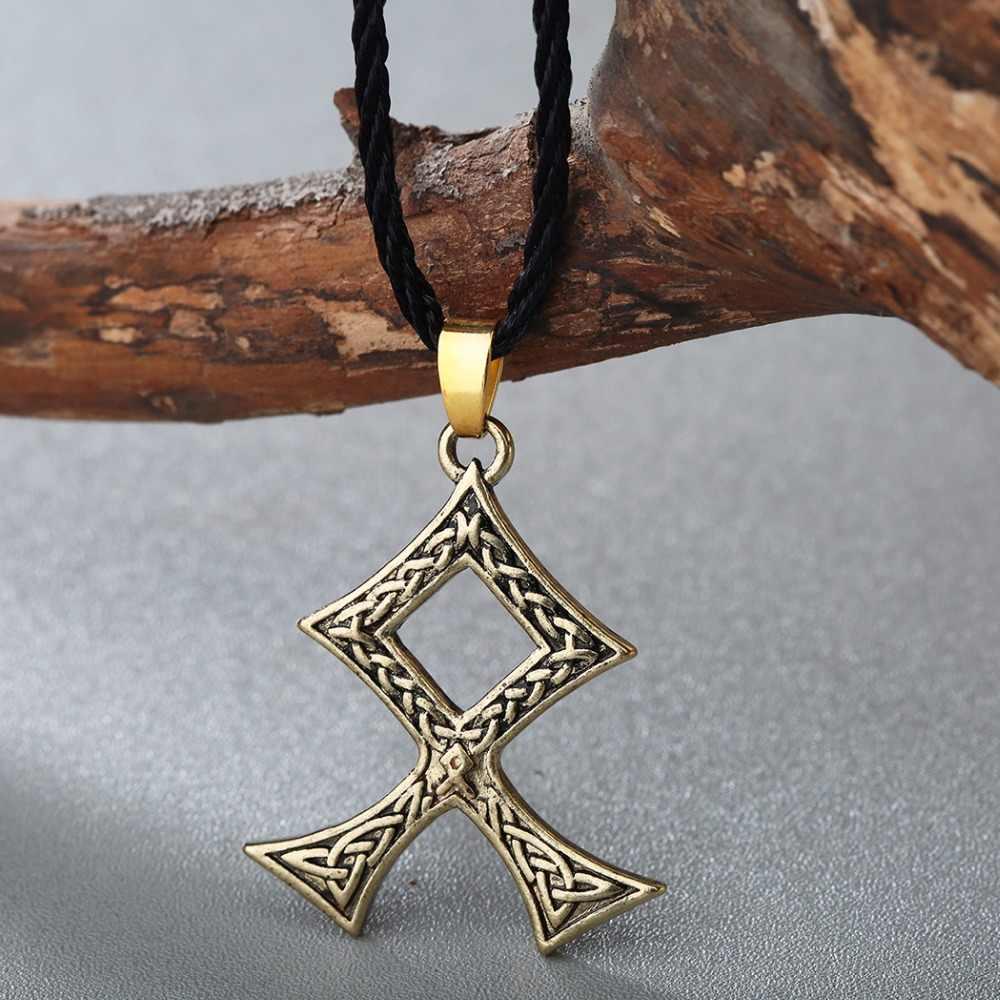 QIMING Odal Rune จี้ Amulet Nordic ไวกิ้งเครื่องประดับสร้อยคอผู้ชายสแกนดิเนเวีย Norse Pagan Talisman เครื่องประดับ Celtic knot
