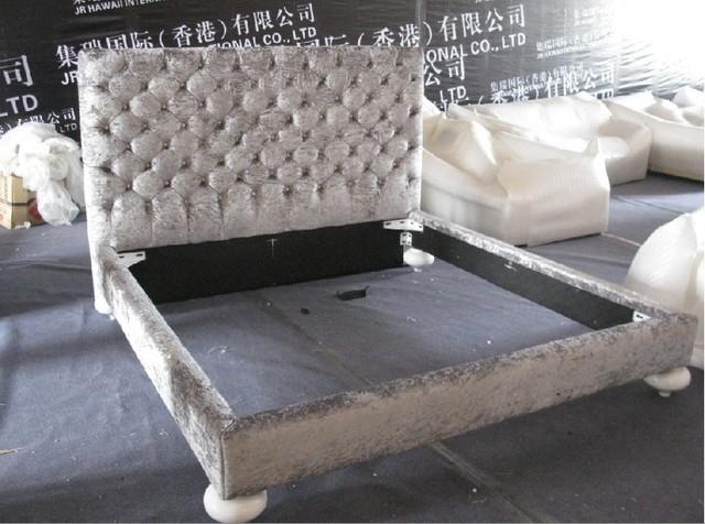 Diseñador de la tela moderna cama doble king size dormitorio con botones de cristal