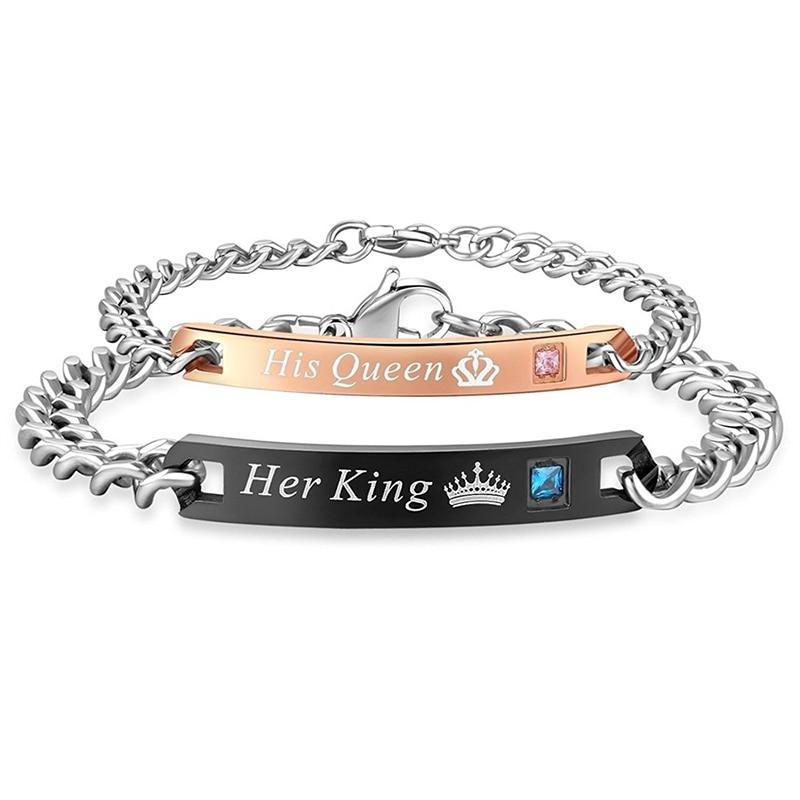 Women Bracelets & Men Bracelet Her King His Queen Theme Titanium Steel Zircon Bangle Couple Erkek Bileklik Valentine's Day Gift