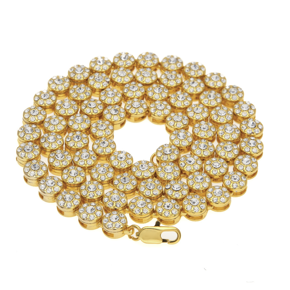 Hip Hop Bling Ice Out 1 Row Round Rhinestones Tennis Chain Necklace for Men Jewelry Gold Silver Black 10mm 30inch