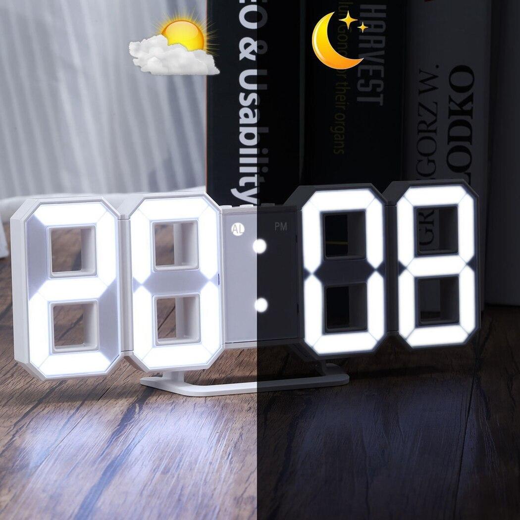 3D LED Wall Clock Modern Digital Alarm Clock Display Home Kitchen Office Table Desk Night Wall Clock 24 Or 12 Hour Display